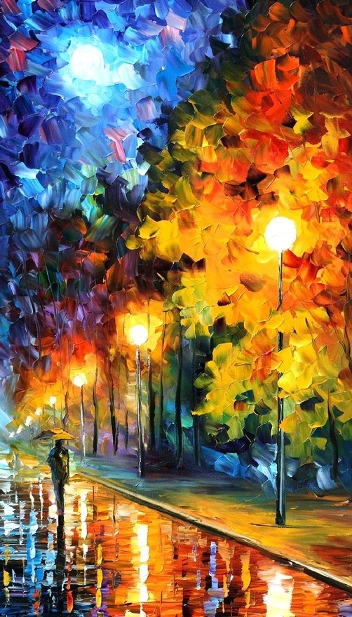 BLUE MOON -- LEONID AFREMOV by *Leonidafremov .  It's so cool that the only defined things are the poles, the person, and the street.