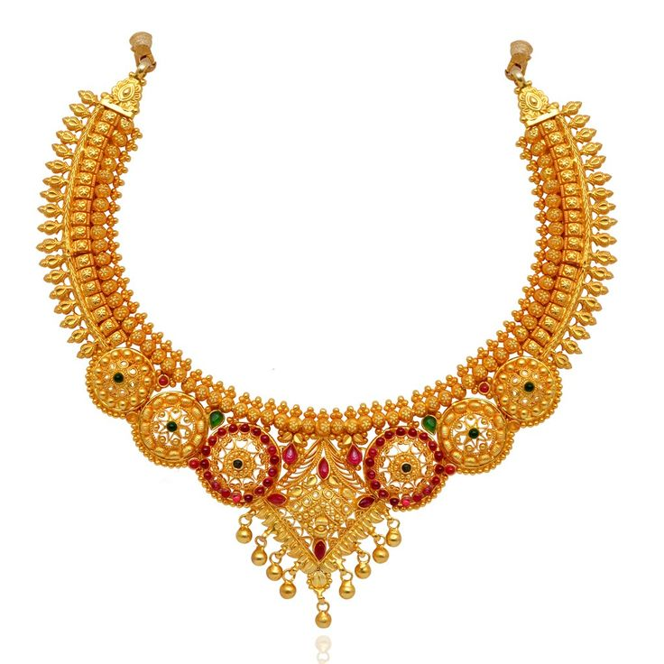 Silver Antique Jewellery | Beautifully Crafted Round Shape With Yellow Dancing Balls Silver Necklace | GRT Jewellers