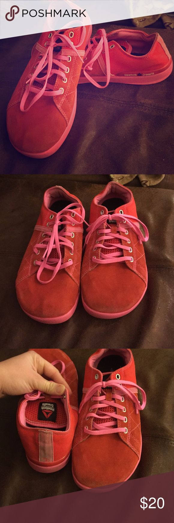 Crossfit shoes. Size 9 1/2 Pink crossfit shoes. Mainly used for deadlifting. The bottoms are flat. Size 9 1/2 Reebok Shoes Sneakers