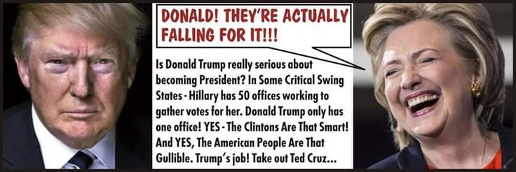 """Trump's real job was to take out Cruz in 2016. I still believe Trump is a Hillary """"plant"""" to fool all these gullible """"conservatives""""."""