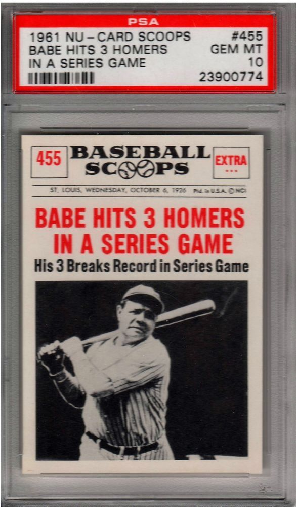 1961 Nu Card Scoops Babe Ruth Hits 3 Homers In A World