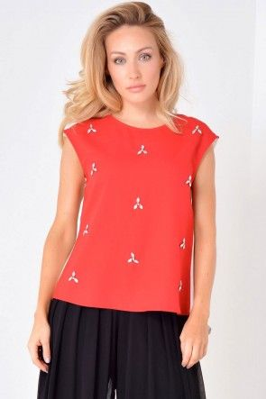 Nelly Pleated Back Top in Red and Cream