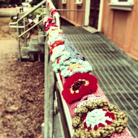 The yarnbombing of Garnapa, Uppsala, Sweden.