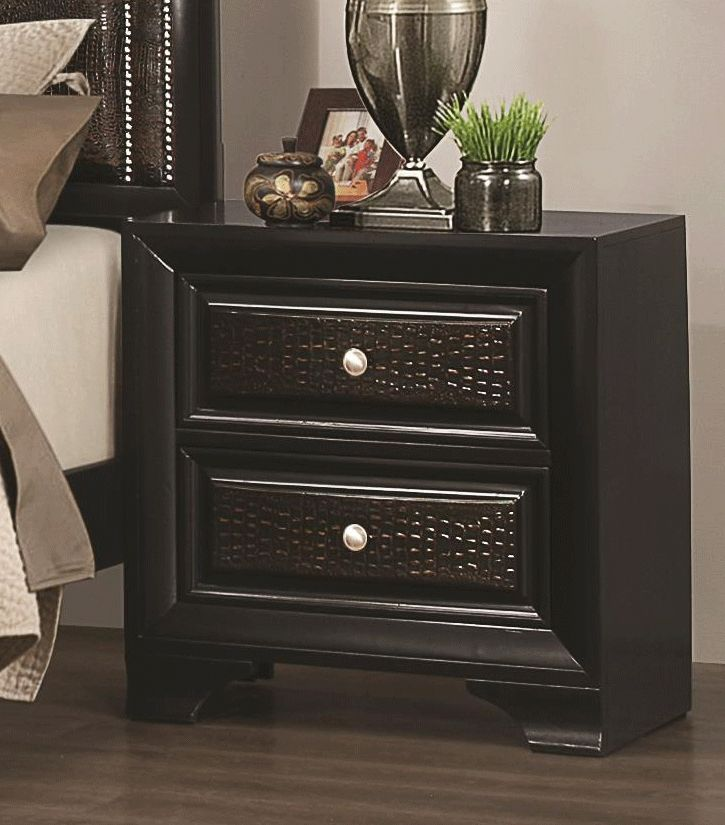 Coaster Delano 2 Drawer Nightstand With Upholstered Drawer Fronts   Coaster  Fine Furniture