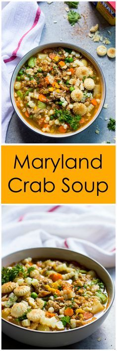 Maryland Crab Soup - hearty farmers market vegetables, lumps of crab meat, and…