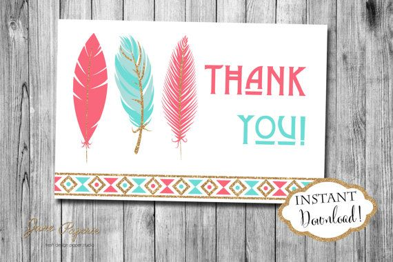 INSTANT DOWNLOAD Coral and Mint Gold Glitter Tribal Thank You Card - Feather Aztec Thank You Note - Arrows Pow Wow by JanePaperie