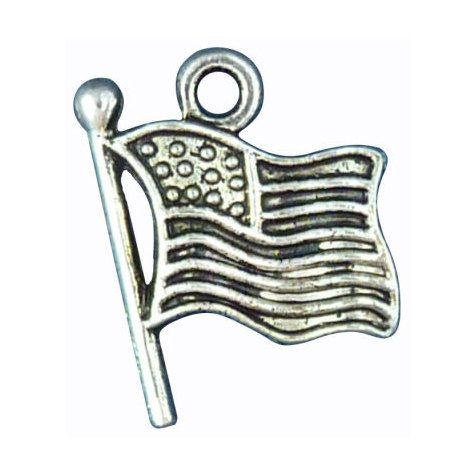 10pcs - American Flag Charm 19x15mm - Ships from Texas - SP0146