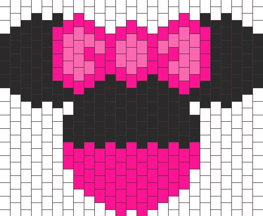 Pink Minnie With Bow Bead Pattern | Peyote Bead Patterns | Characters Bead Patterns