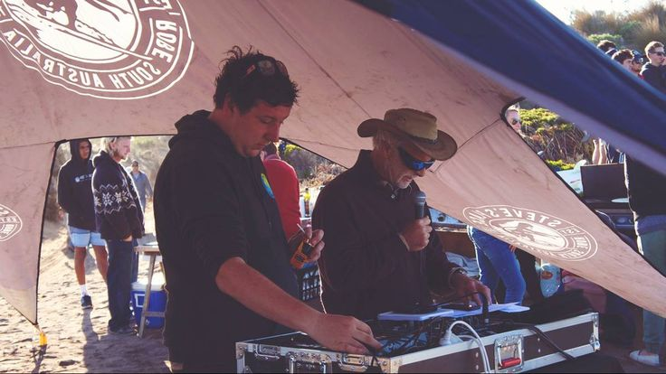 DJ Hamish Kurray and commentator John Davidson entertain the crowd at the Robe Easter Classic.