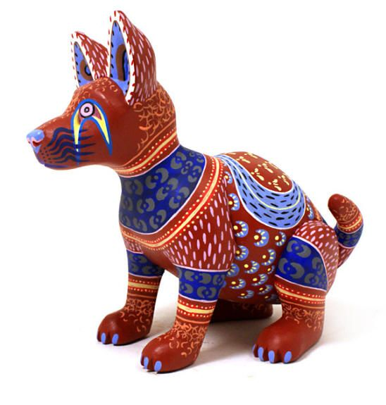 Oaxacan wood carvings miguel gil santiango dog