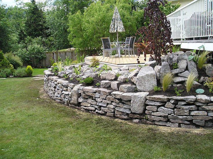 natural stone wall deck