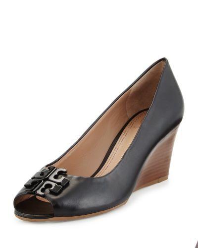9573c14736d966 Tory Burch Wedge Lowell 2 Peep Toe Patent Leather Black Shoe Pump Size 7 NIB