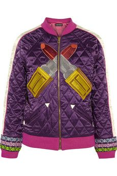 House of Holland Embroidered quilted satin jacket | NET-A-PORTER