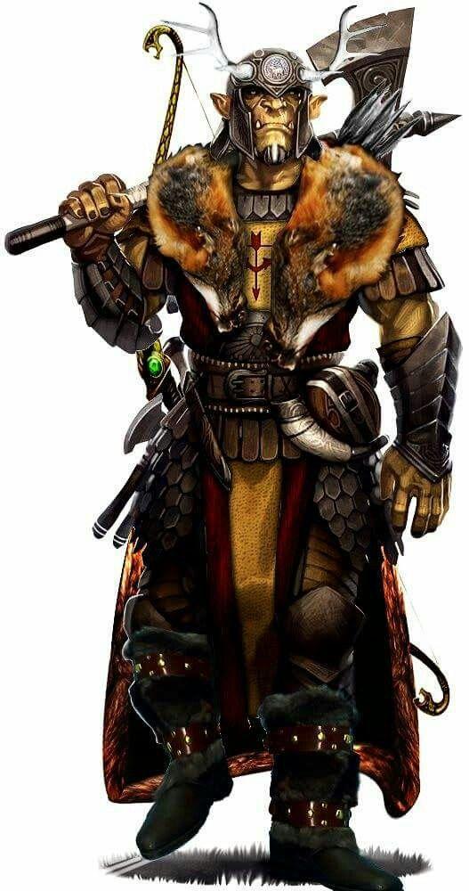 m Half Orc Ranger med armour battle axe longbow traveller