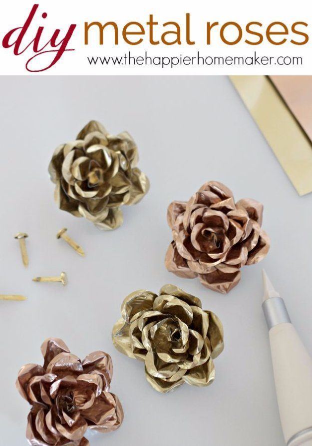 Easy Crafts To Make and Sell - Pretty Metal Roses - Cool Homemade Craft Projects You Can Sell On Etsy, at Craft Fairs, Online and in Stores. Quick and Cheap DIY Ideas that Adults and Even Teens Can Make http://diyjoy.com/easy-crafts-to-make-and-sell