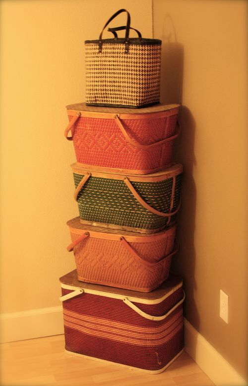 Picnic Basket Balancing Act!  Decorative & Great for Storage!!!  Also, easy to to tote to other locations!