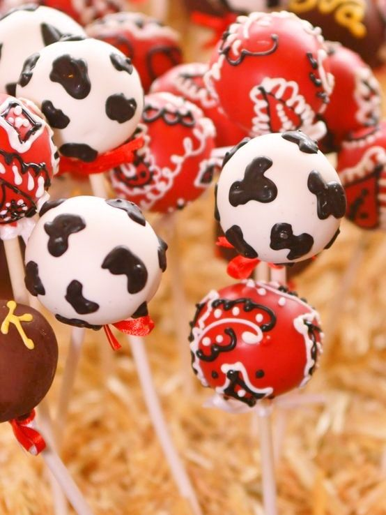 Country Cow Print Cake Pops, Black or Brown Print, Red or Blue Bandana Color, White or Chocolate, Sold by THE DOZEN ONLY