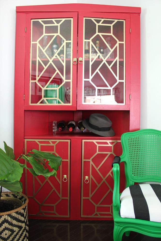 Boring black to vivid red cabinet makeover #diydesign