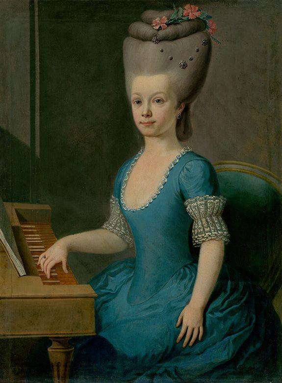 Podobizeň dievčaťa v modrom pri čembale | Slovenský maliar z 2. polovice 18. storočia and Neznámy maliar | 1760/1770 | Slovak National Gallery | CC BY