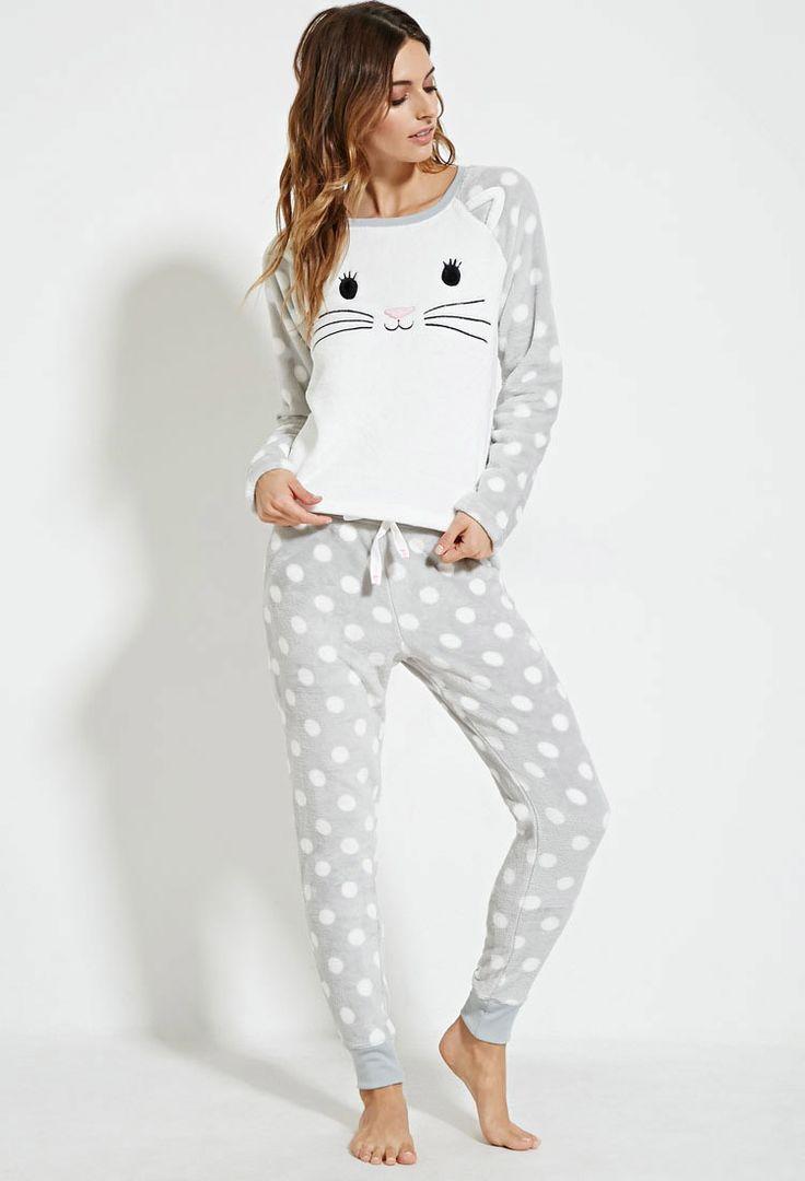 Polka Dot Cat Pyjama Set - Lingerie + Sleep - 2000179281 - Forever 21 UK