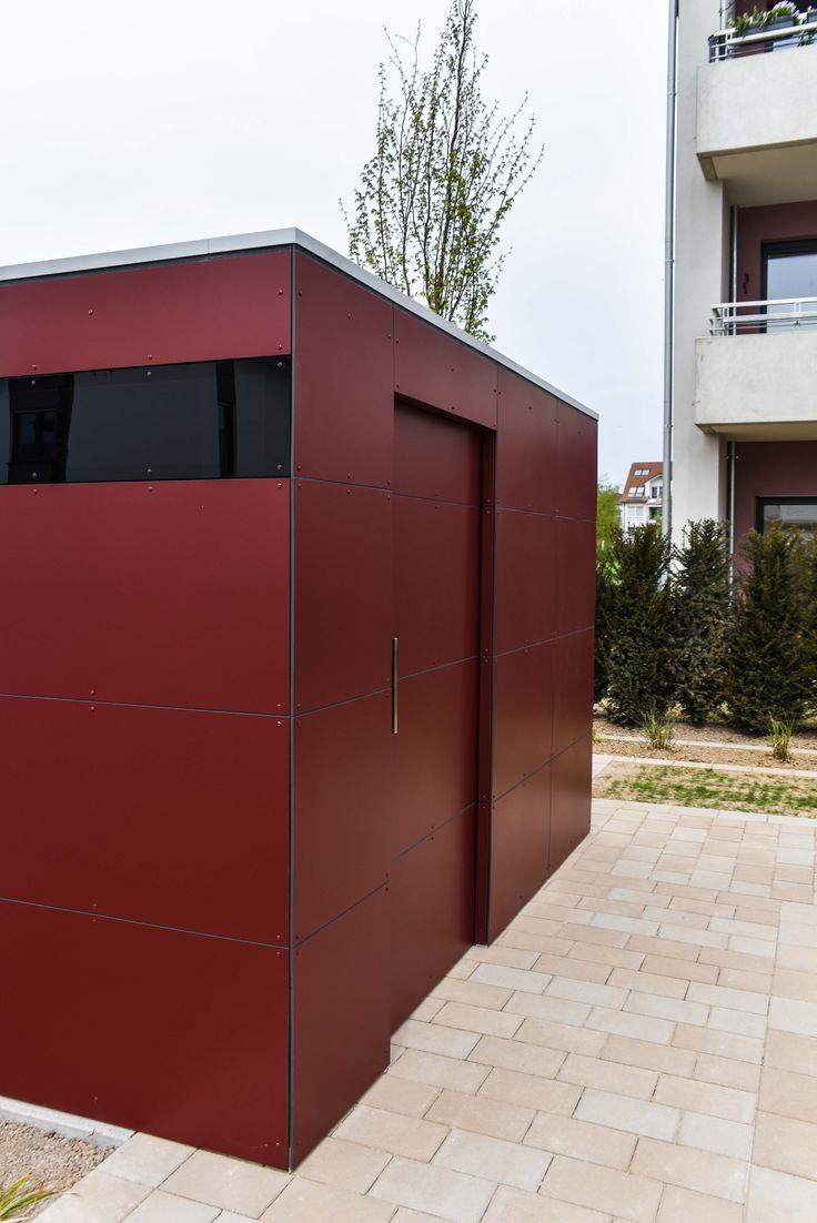 design gartenhaus @_gart drei - vine red, Fahrradhaus #Gartenhaus #HPL #Gerätehaus #HPL