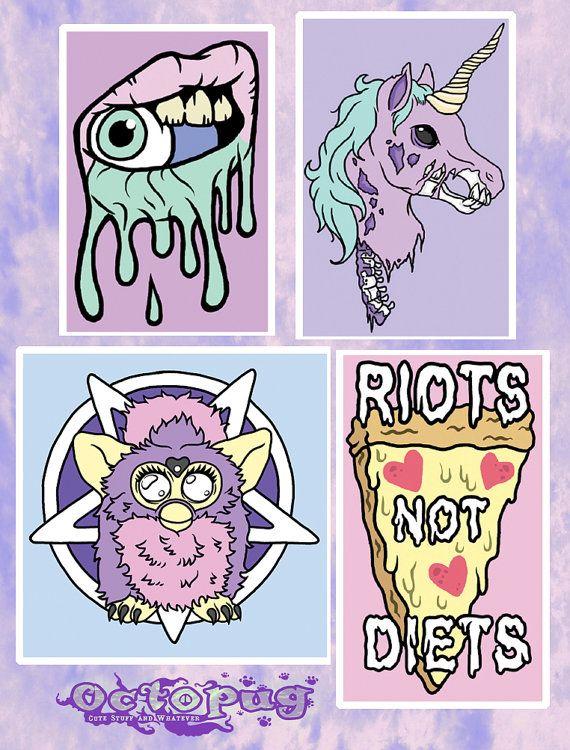 Pastel grunge vinyl decals zombie unicorn satanic furby riots not diets lip drip más