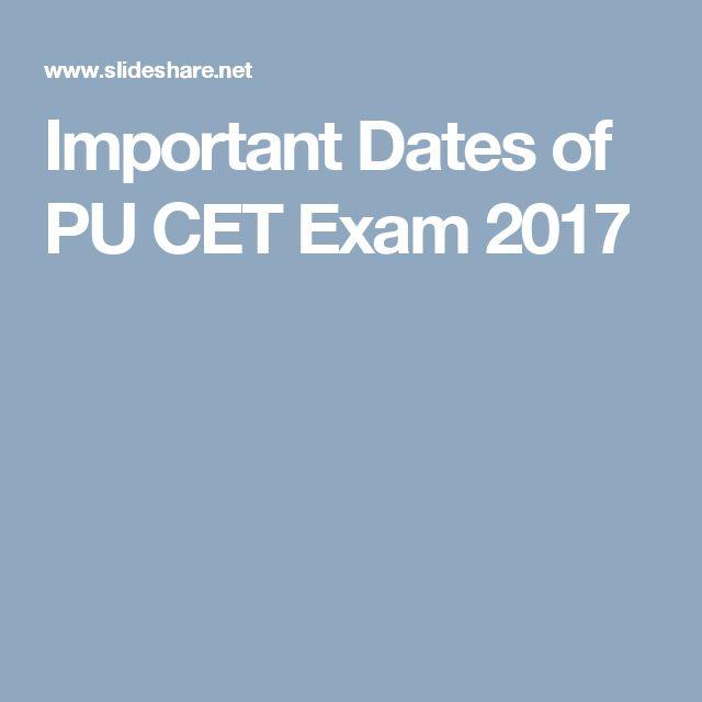 Important Dates of PU CET Exam 2017