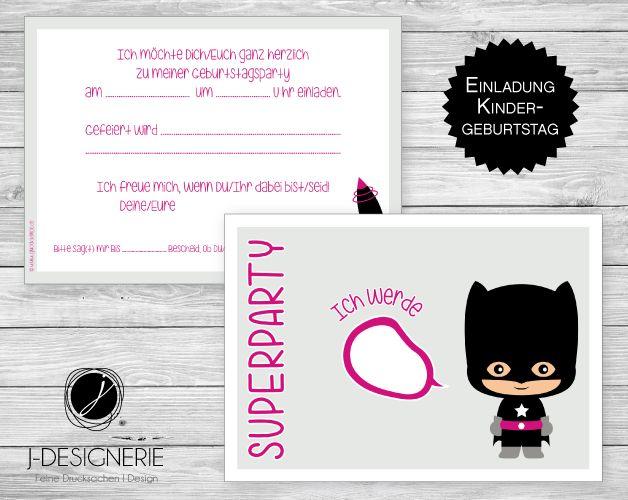 6 X Einladung ♥ KINDERGEBURTSTAG ♥ Superheldin