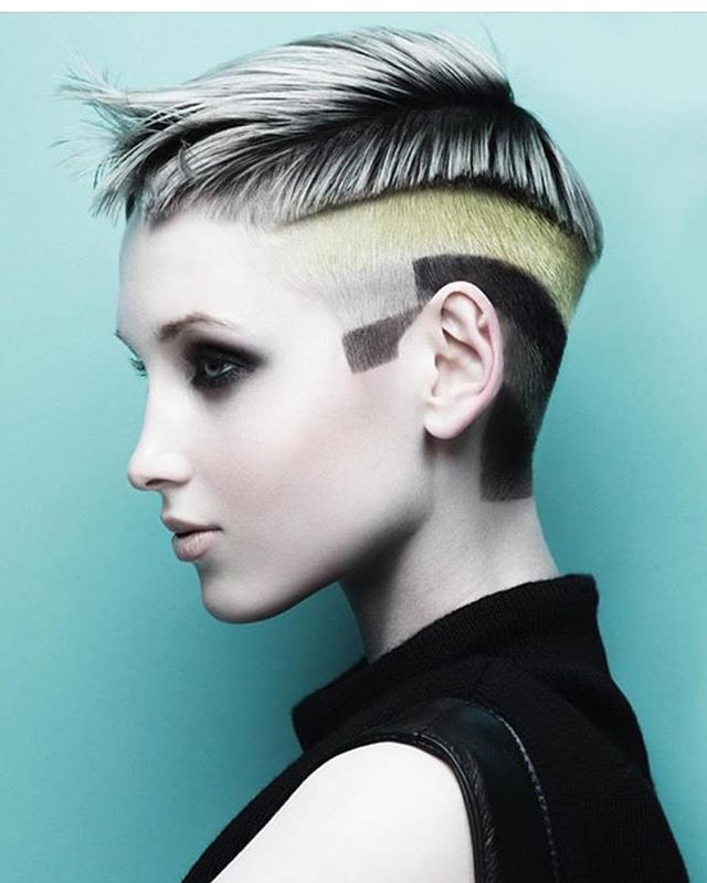 Geometric undercut & block-coloured hair