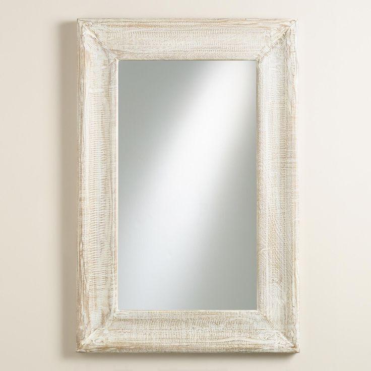 $150 Whitewashed Liam Concave Mirror | World Market