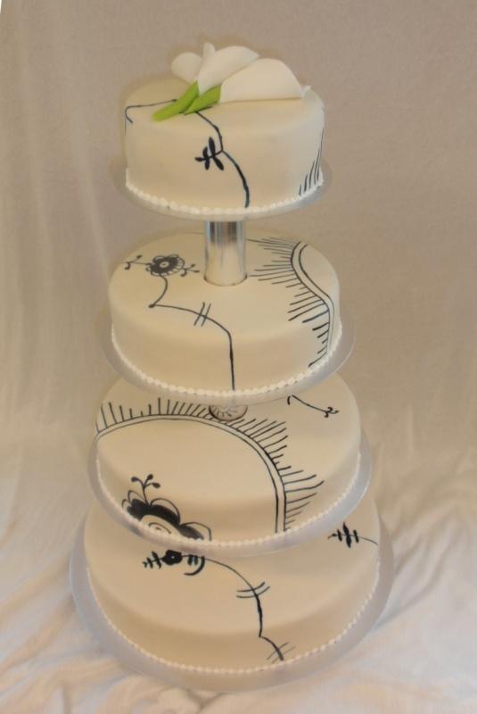 Musselmalet bryllupskage