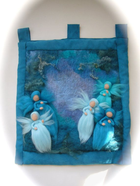 FairiesElfsWool PicturetapestryWall hangingfelted. by FilzArts