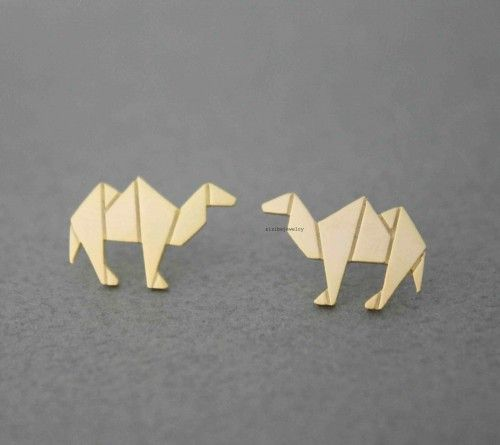 Adorable , Unique and Simple Origami Camel earrings. horse earrings, camel earrings, animal earrings, animal origami, woman earrings, cute earrings, animal  Size/Dimensions/WeightThe  size of camel is