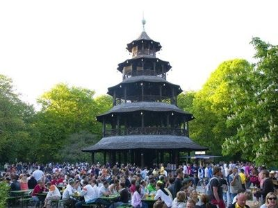 "Typical for Munich: A ""Biergarten"" (= Beer-Garden), here one  the most popular ones in the English Garden below the Chinese Tower."