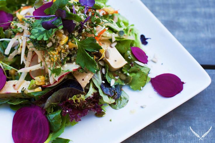 Tamari Marinated Tofu w/ Shaved Baby Beetroot, Quinoa Tabouleh, Bean Sprouts & Seeds, over Summer Leaves w/Dressing