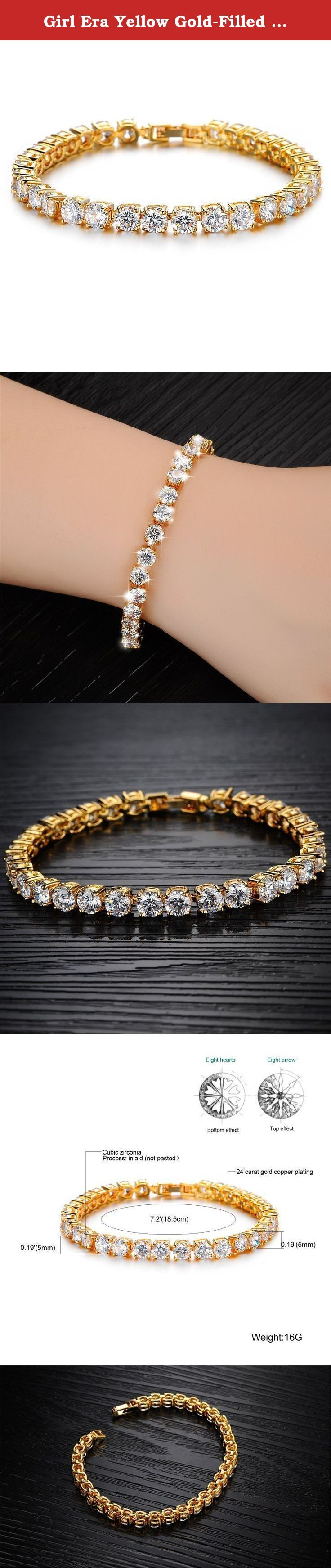 """Girl Era Yellow Gold-Filled Round Diamond-Cut Cubic Zirconia Tennis Bracelet,7.2"""". Indulge yourself with glamorous fashion jewelry! Girl Era boasts of numerous elegant necklaces, pendants, earrings, bangles, bracelets, brooches in various designs to choose from. The surface of bracelet adopt delicate polishing technology and plated with 18K Gold,it's long colorfast than common electroplating.Silver color part dealing with sand blasting treatment,can resist from scratches effectively…"""