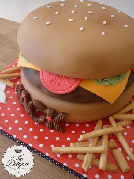 Cheeseburger birthday cake - by designercakecompany @ CakesDecor.com - cake decorating website