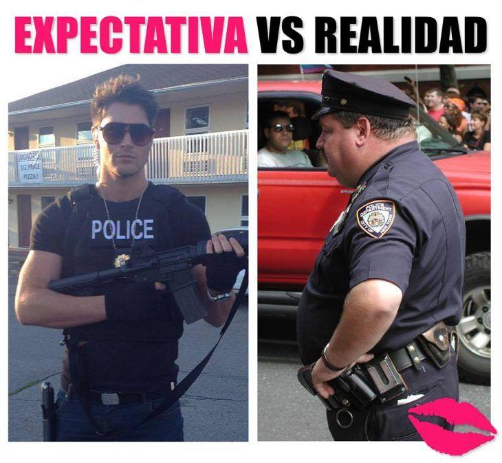 expectativa vs realidad hombre policia guapo y uno feo