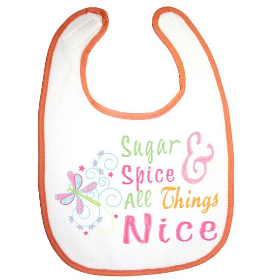 Personalised Baby Bib Sugar Spice & All by BabysPreciousGifts