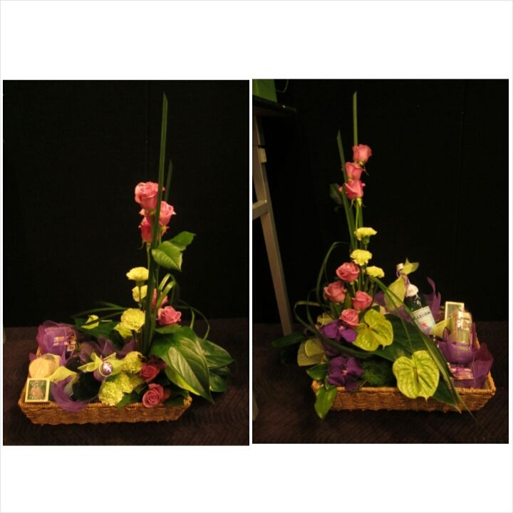 Gift hamper design featuring gorgeous modern flowers and gourmet products
