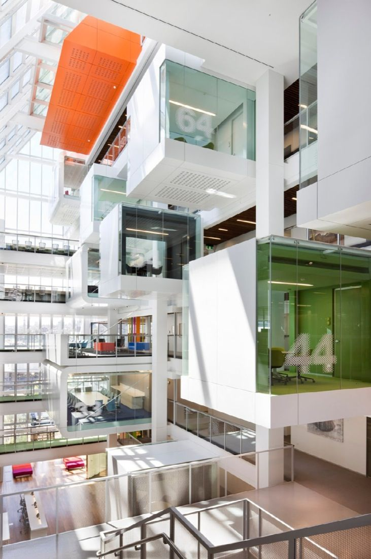 One Shelley Street in Sydney is home to the Macquarie Group, investment company, a beautiful modern office development with transparent, vibrantly-coloured work units, integrated meeting environments, airy atriums and flexible open spaces. Clive Wilkinson Architects developed the design to meet the very highest standards of sustainable construction.