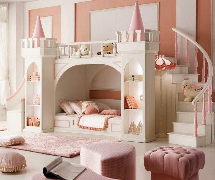 Un véritable #château de #princesse pour la #chambre ! #déco #rose #blanc #décoration #enfant #fille www.m-habitat.fr/...