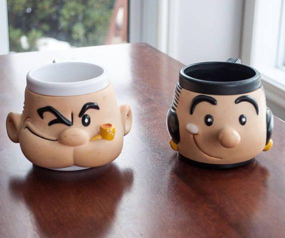 Vintage Olive Oyl and Popeye Plastic Mug