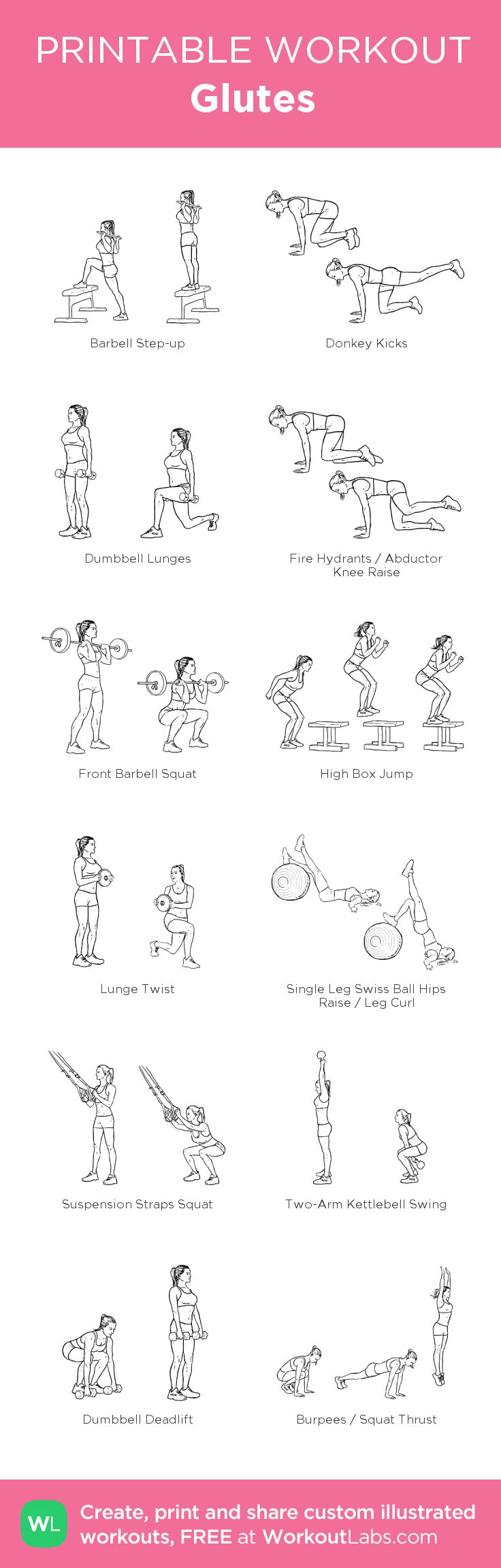 Glutes: my visual workout created at WorkoutLabs.com • Click through to customize and download as a FREE PDF! #customworkout