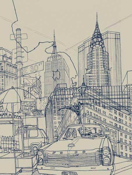 Line Art New York City : Line drawing of new york david bushell artside pinterest