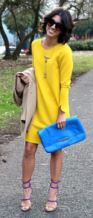 Long Sleeve Hollow Back Yellow Dress