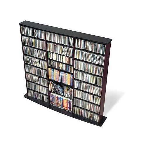 Black Media Storage Furniture CD / DVD - Prepac by Prepac. $199.00. Some assembly may be required. Please see product details.. This very popular library style CD / DVD triple wall media storage unit has three separate compartments. This media storage unit is designed to accommodate any combination of media in a large collection. Fully adjustable shelves and horizontal media storage allows for easy sorting, filing and re-filing of your collection as it grows. Tops and bases are m...