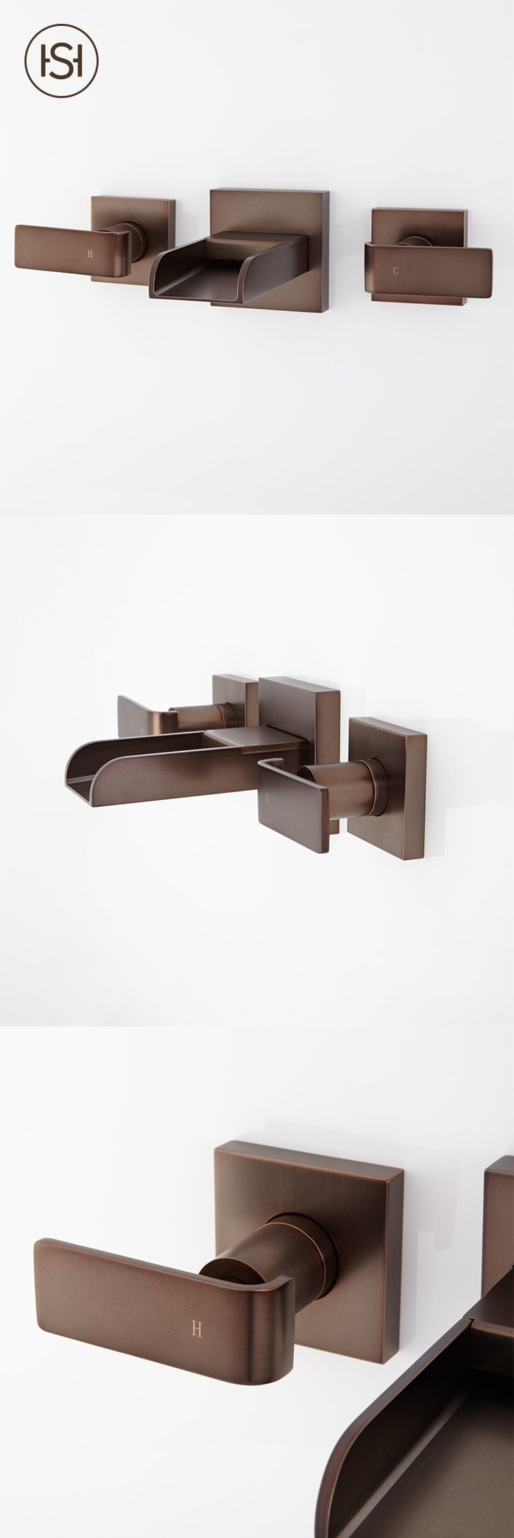 Your guests will be tickled by waterfall flow and sleek design of the Maleko Wall-Mount Waterfall Bathroom Faucet from Signature Hardware. #bathroomfaucets