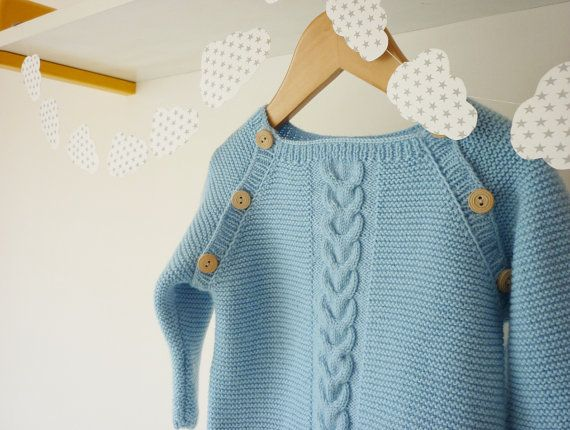 Hand knitted baby sweater / knitted baby by PetitMoutonFrancais