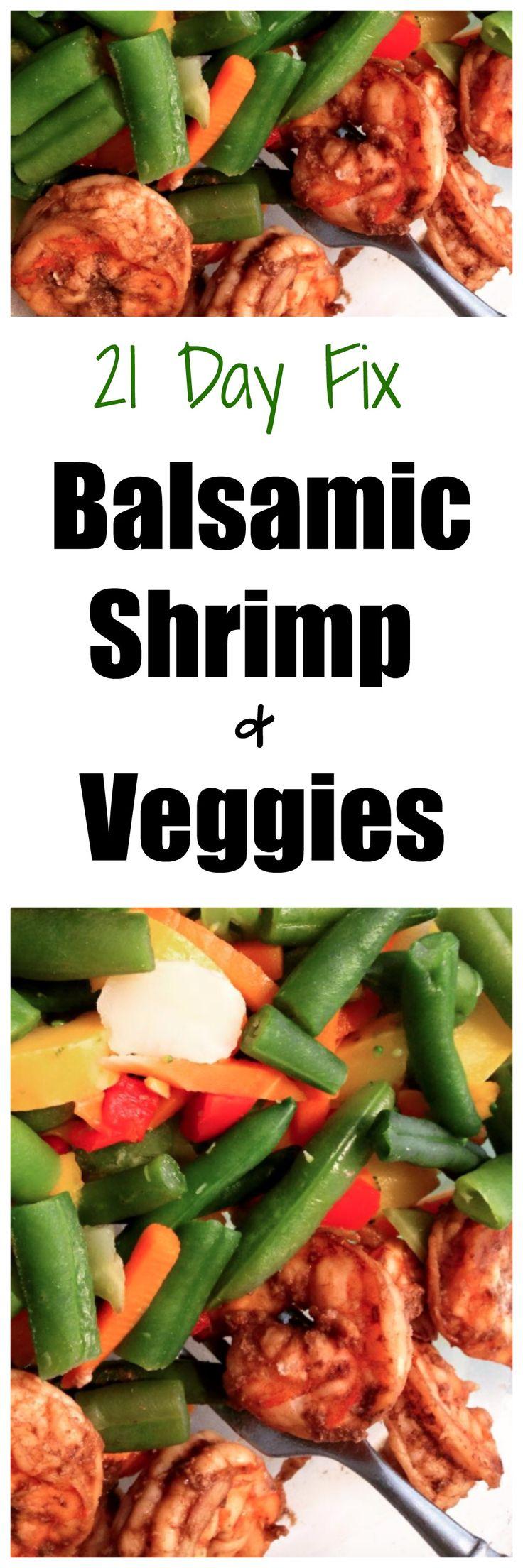 21 Day Fix Balsamic Shrimp and Veggies #21dayfix #21dayfixrecipes #21dfxrecipes #21dfx #cleaneatingrecipes #cleaneating